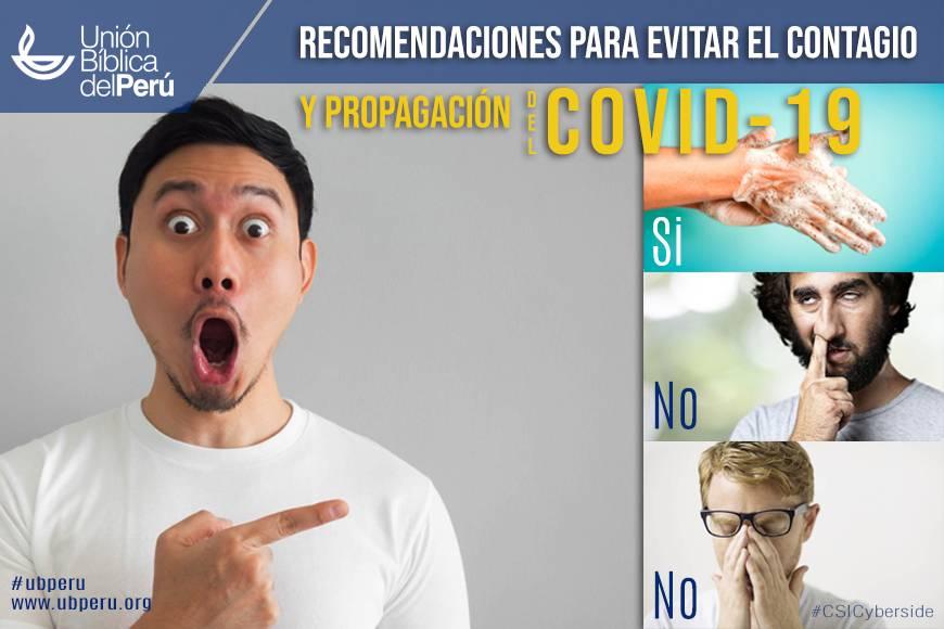 Recomendaciones para evitar el contagio y propagación del COVID-19